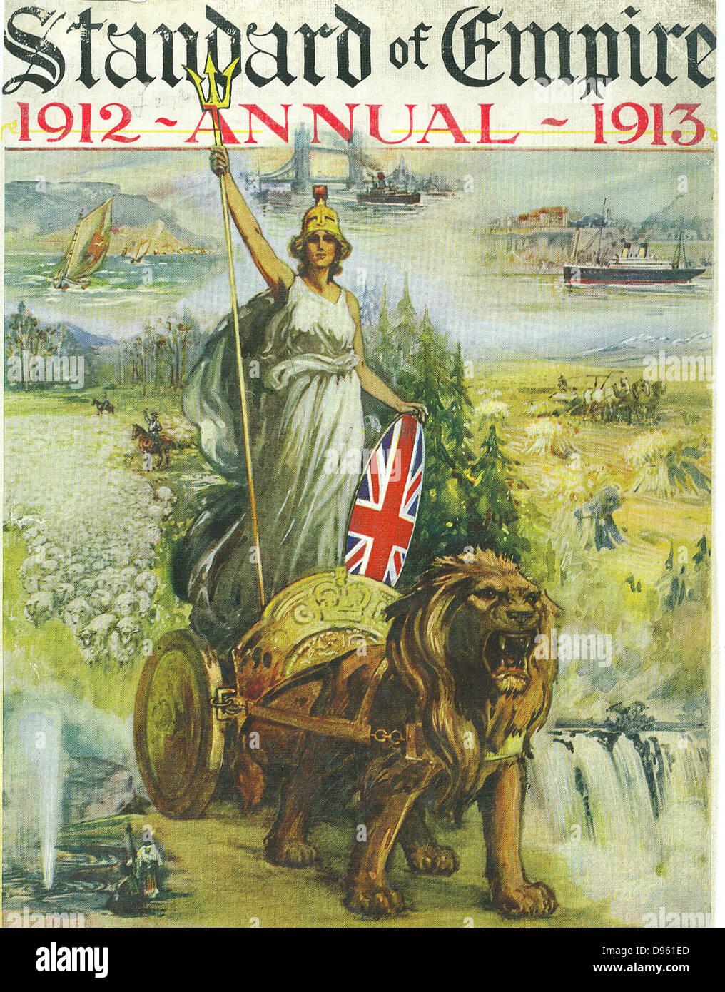 Ristrutturazione sciovinista coperchio del 'Standard di Empire' annuale per 1912-1913 mostra Britannia in Immagini Stock