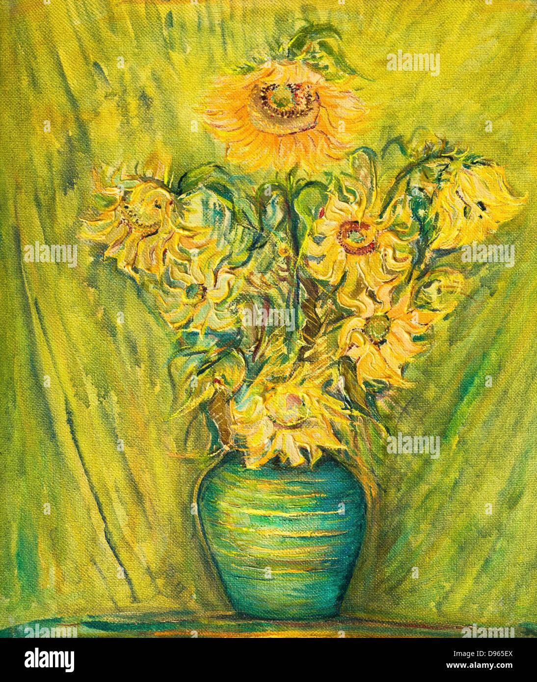 Un dipinto ad olio su tela di luminoso colorato bouquet girasoli su un giallo verde dello sfondo. Immagini Stock