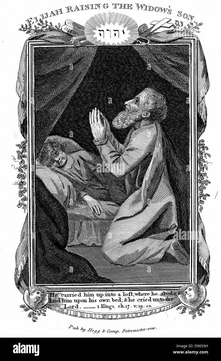 """Elia sollevando la vedova del figlio. """"Bibbia"""" 1 Re 17,19, 20. Incisione su rame c1808 Immagini Stock"""