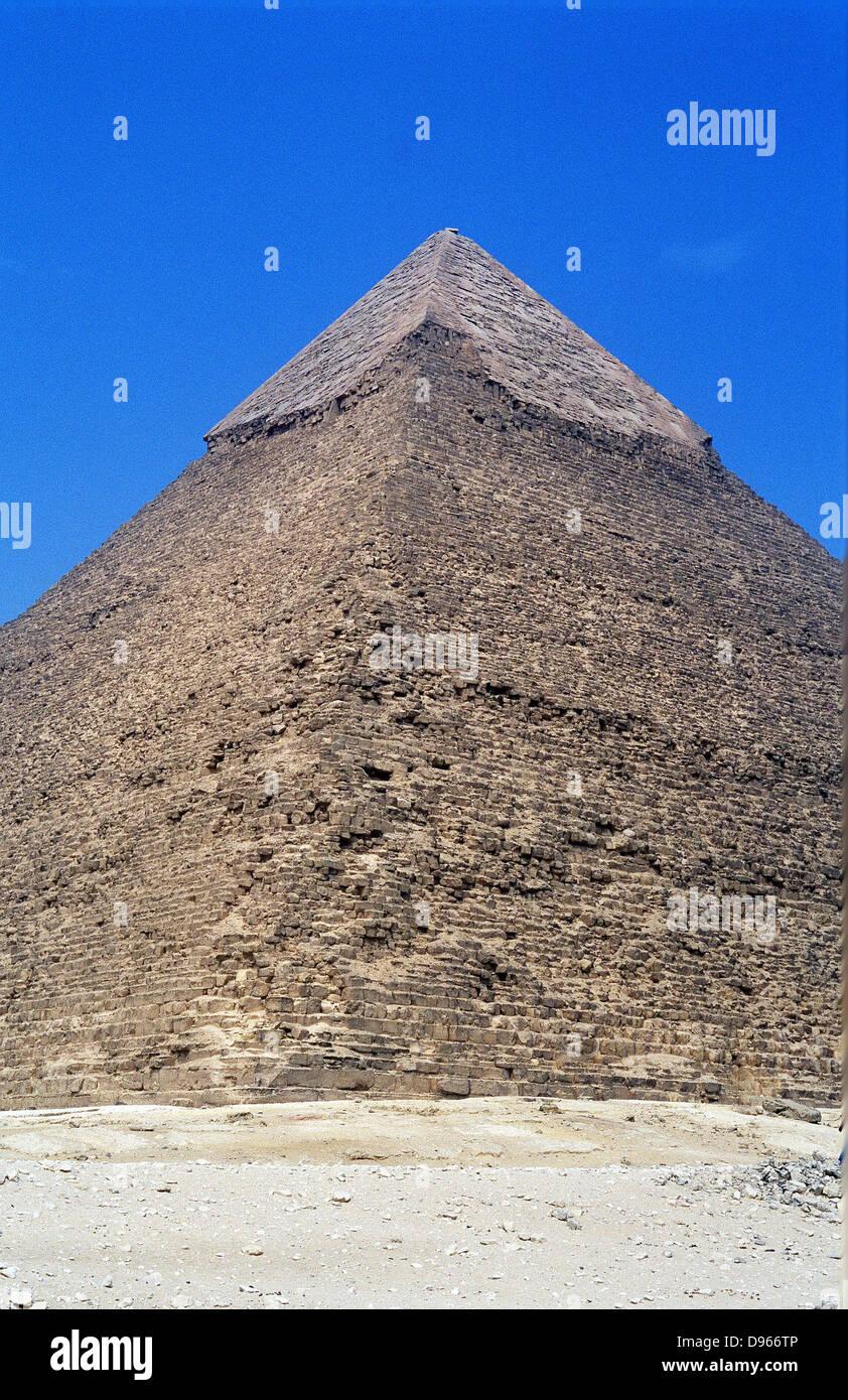 Antico Egitto: la Grande Piramide di Cheope, Giza, una delle sette meraviglie del mondo antico. Immagini Stock