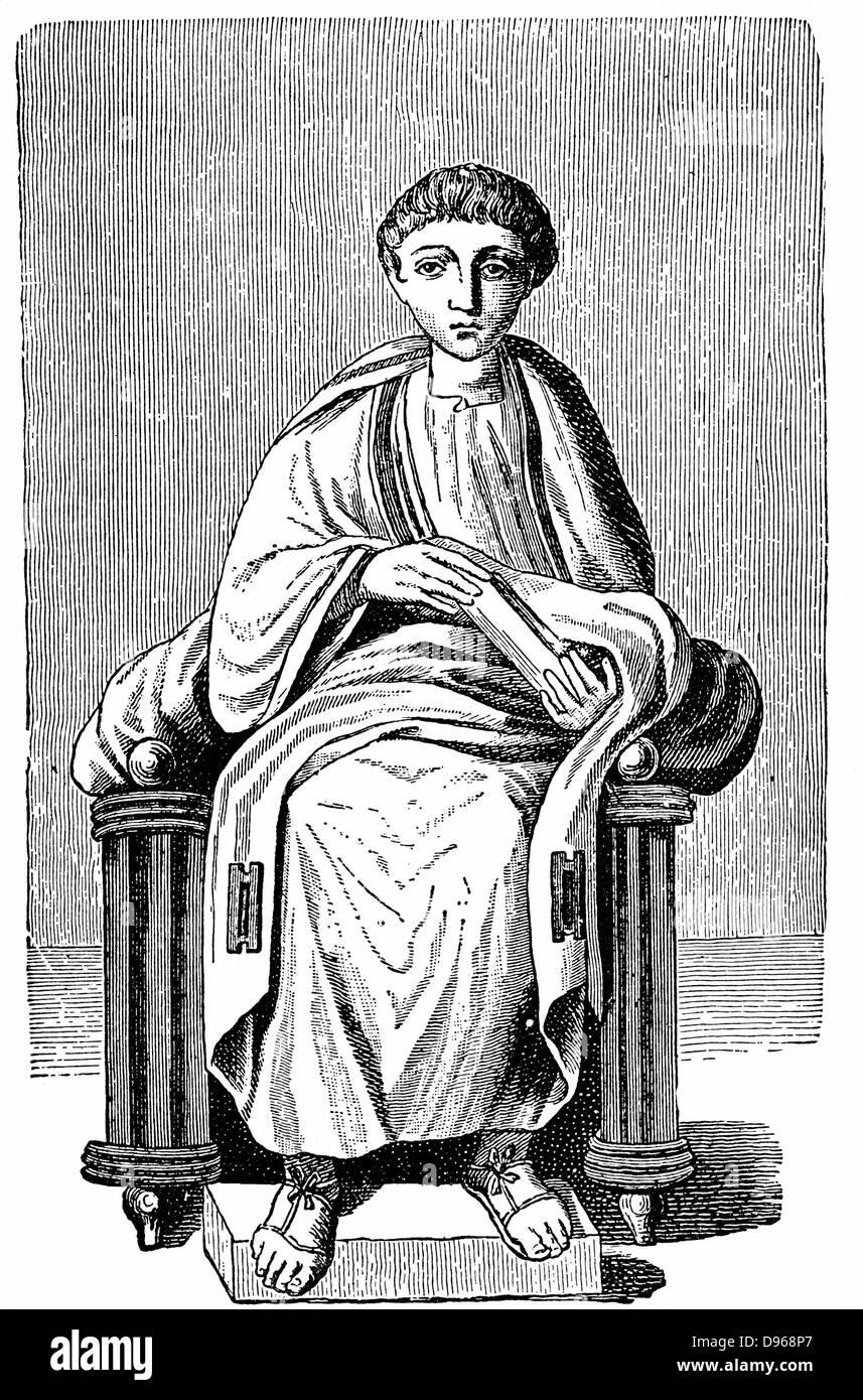 """Virgilio (Publio Vergillus Maro 79-19 BC)antico poeta romano. Autore di """"Eneide' e 'Georgics'. Immagini Stock"""