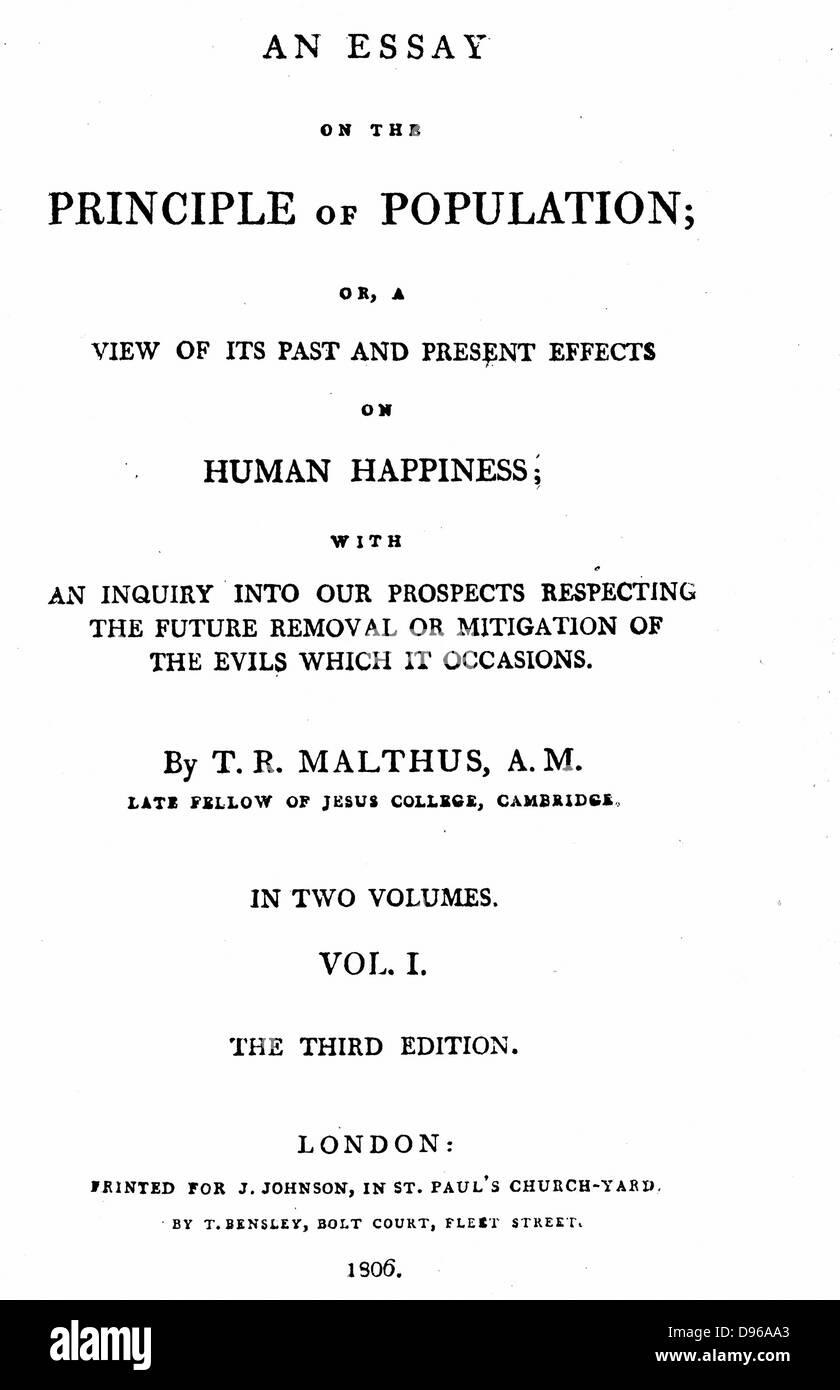 """Titolo pagina del primo volume della terza edizione (1806) di Malthus """"Saggio sul principio della popolazione"""": Immagini Stock"""