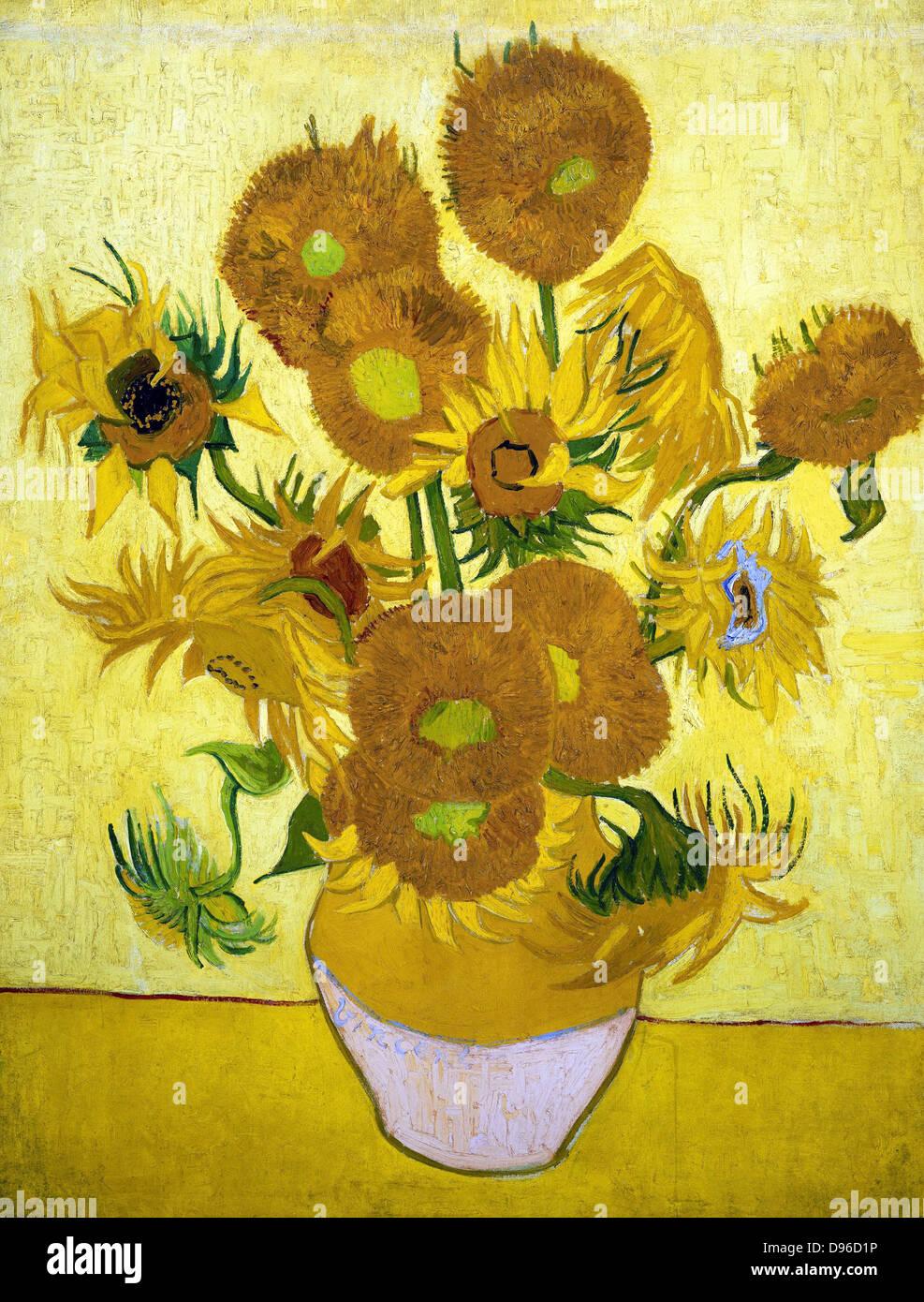 La pittura di girasoli, 1888. Di Vincent van Gogh. Olio su tela. Immagini Stock