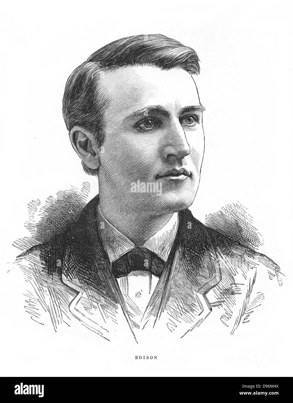 Thomas Alva Edison (1847-1931) inventore americano. Incisione c1880 Immagini Stock