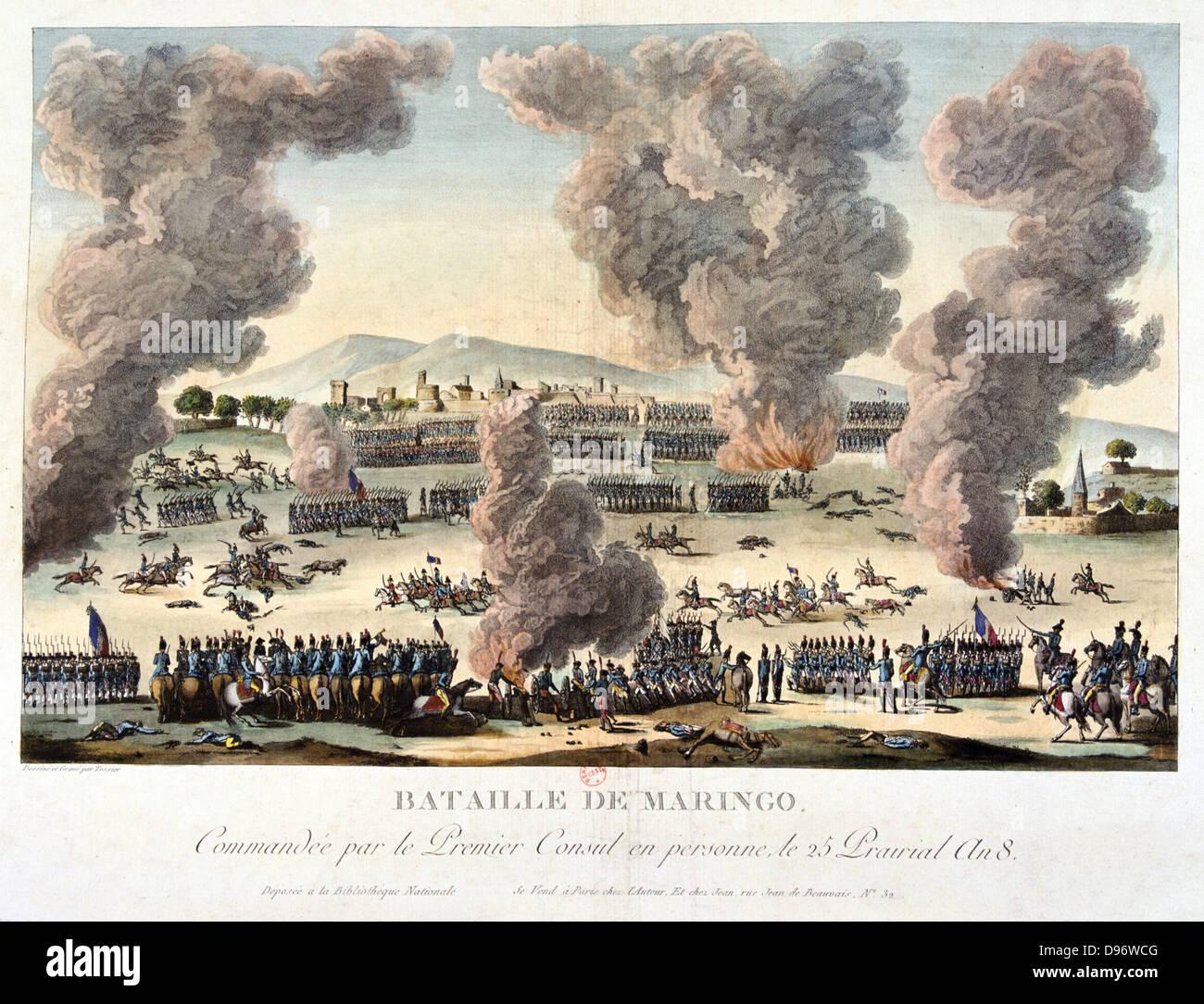 La Battaglia di Marengo, 14 giugno 1800. Forze francesi sotto Napoleone sconfitto austriaci. Litografia colorata. Immagini Stock