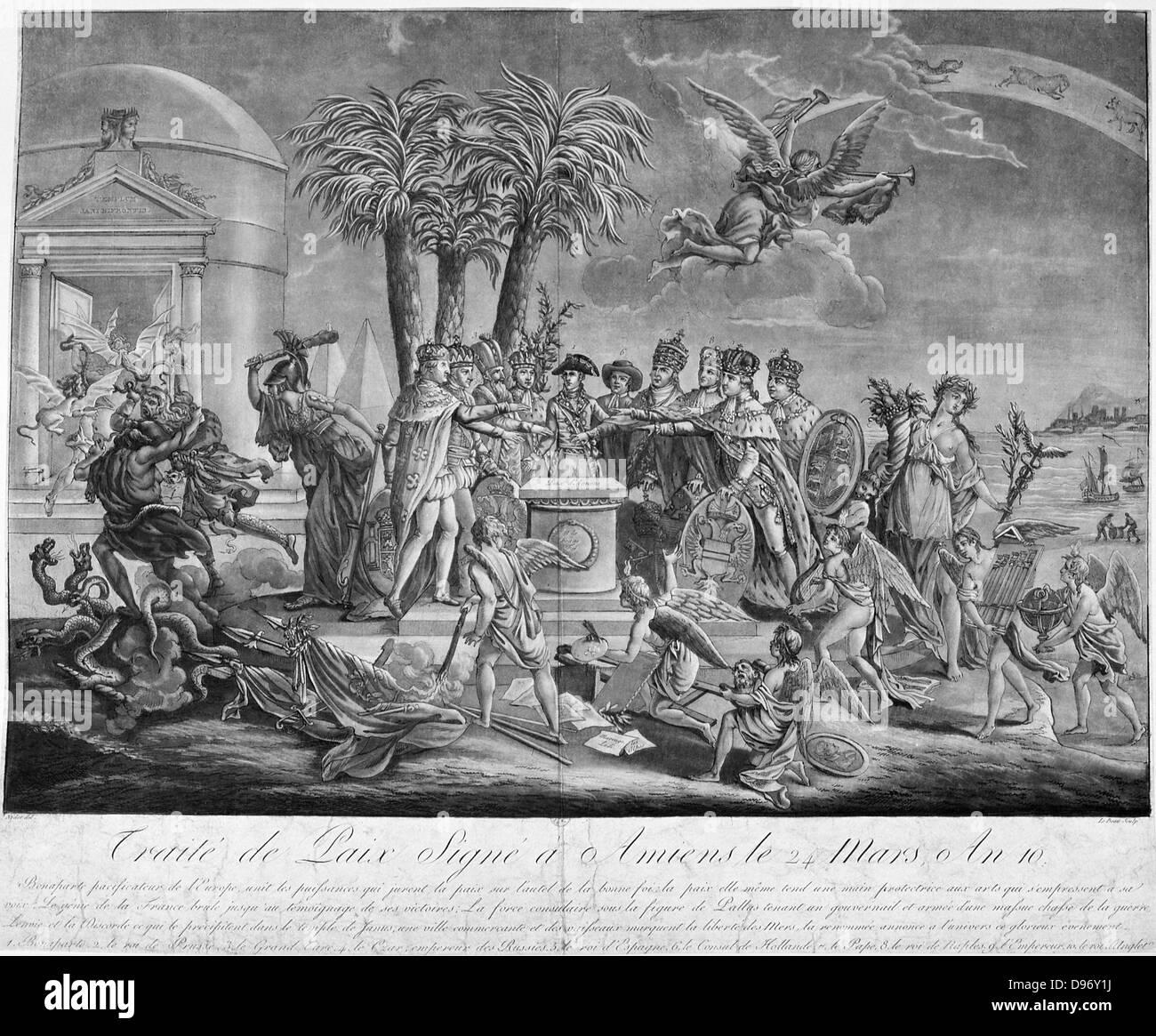 L'incisione per celebrare la firma del Trattato di Amiens 25 marzo 1802, trattato di pace tra la Gran Bretagna Immagini Stock