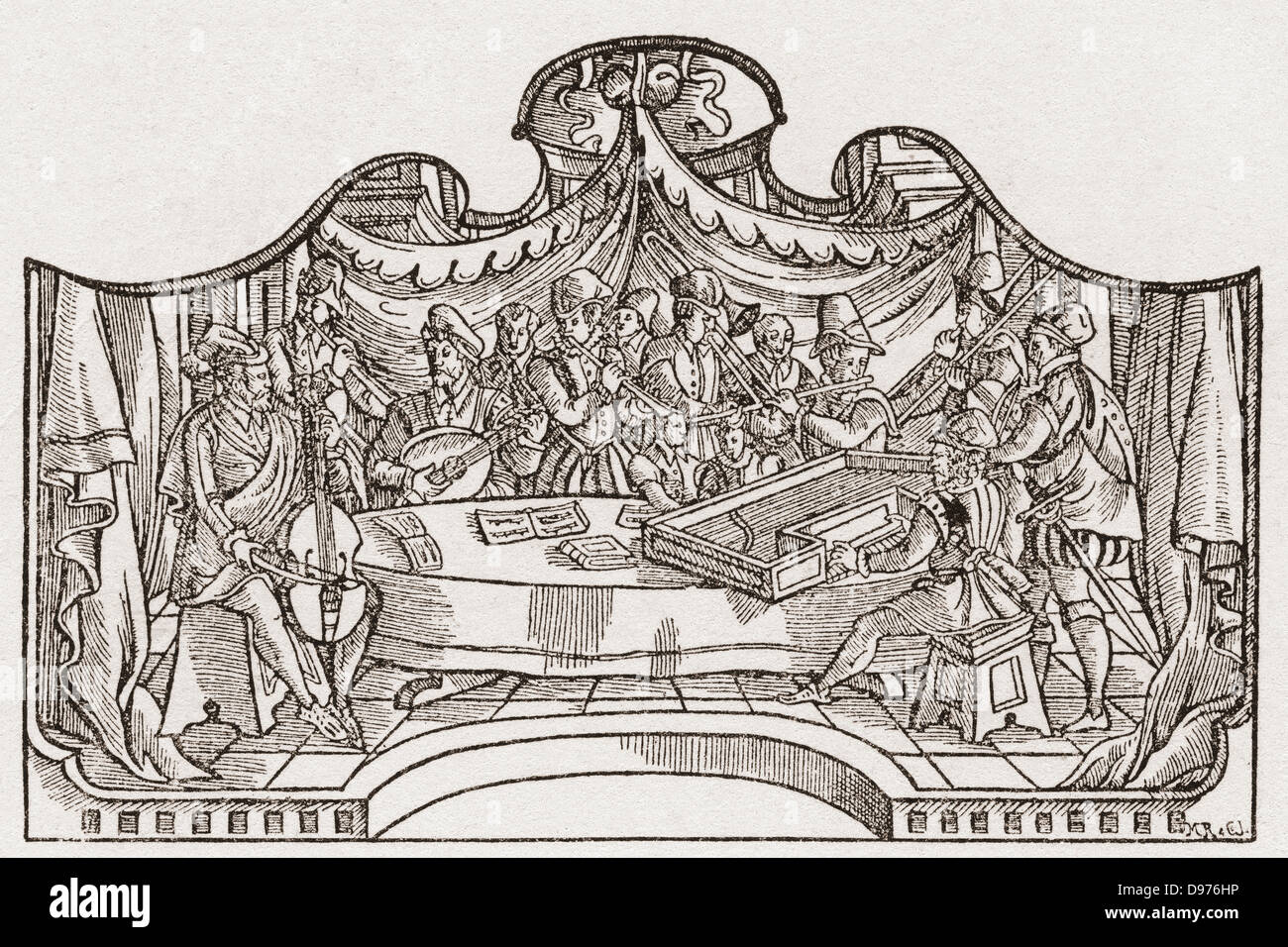 Un orchestra dal periodo Tudor in Inghilterra. Da una stampa contemporanea. Immagini Stock