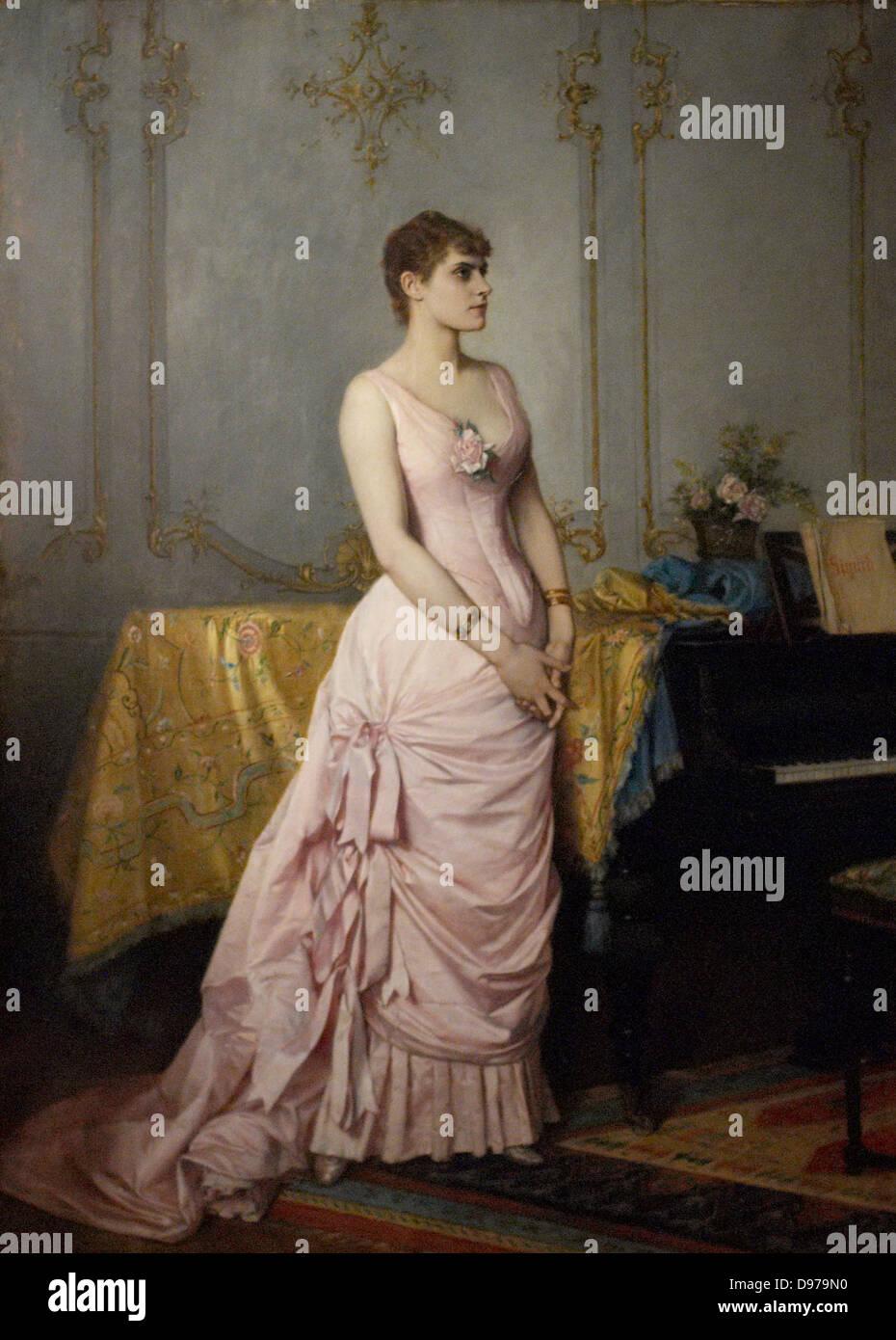 Auguste Toulmouche Ritratto di Rose Caron del XIX secolo Parigi - Museo Carnavalet Immagini Stock