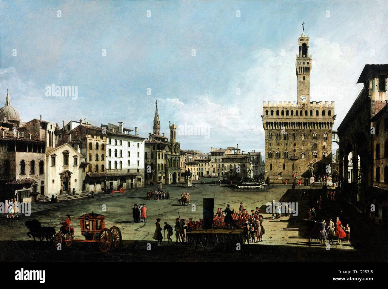 Bernardo Bellotto, chiamato il Canaletto, di Piazza della Signoria a Firenze 1742 olio su tela. Museo di Belle Arti di Budapest. Foto Stock