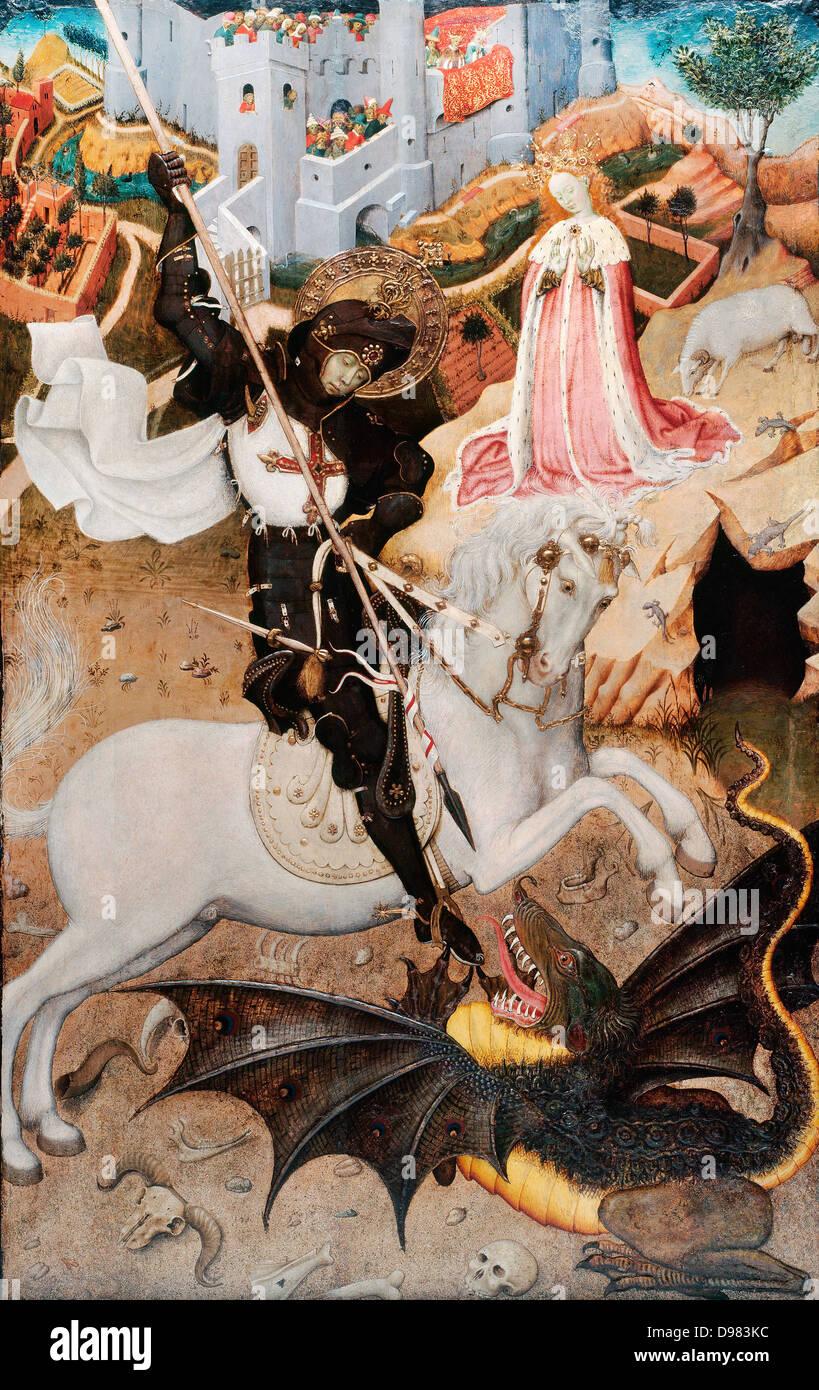 Bernat Martorell, San Giorgio che uccide il drago 1434-1435 Tempera su pannello. Art Institute of Chicago, Chicago, Immagini Stock