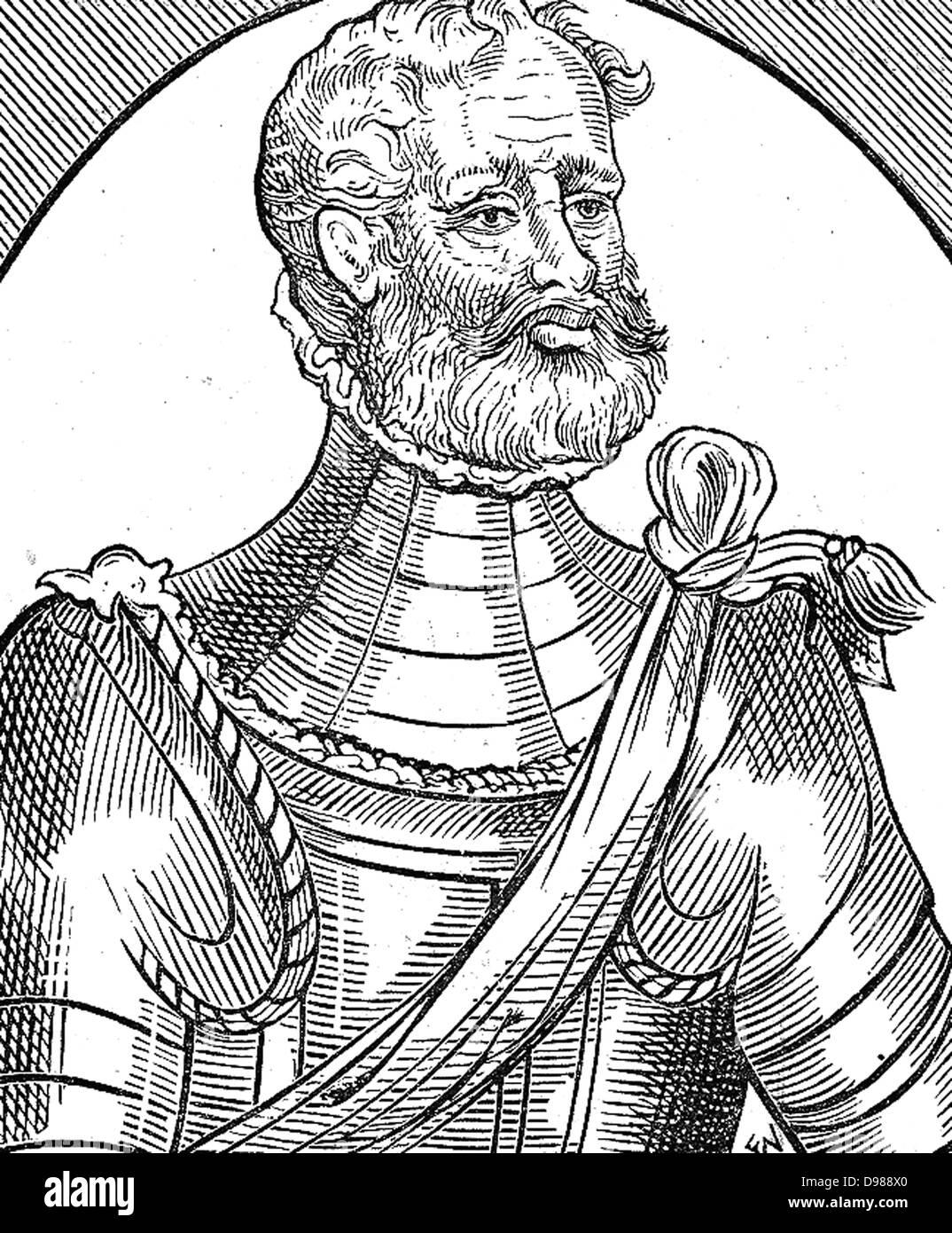 """Un Martialist. Wodcut da George Whetstone """"Onorevoli la reputazione di un soldato' (1585) Immagini Stock"""