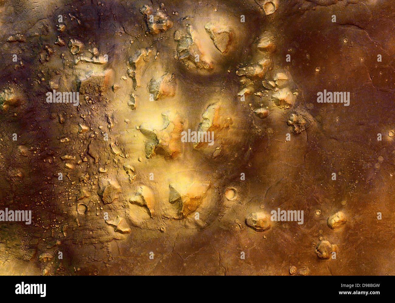 Stone mesas della regione di Cydonia su Marte sono molto suggestivi in apparenza. La scorsa settimana il Mars Express Immagini Stock
