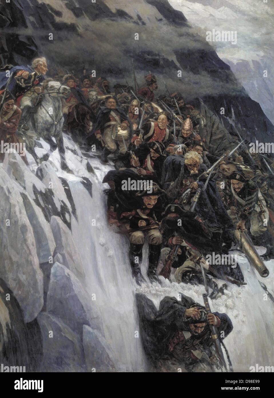 Wassilij Iwanowitsch Surikow (1848-1916) le truppe russe sotto Suvorov attraversamento delle Alpi nel 1799. Data Immagini Stock