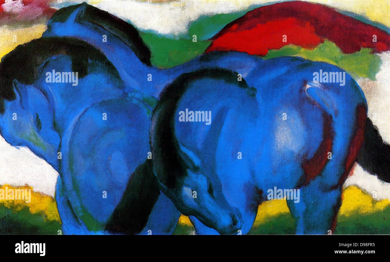 Franz Marc (1880-1916): i Piccoli cavalli blu 1911 Immagini Stock