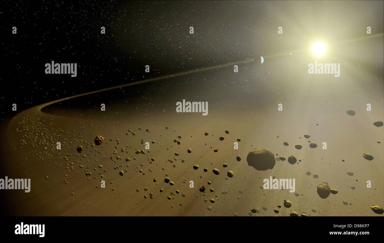 Artista del concetto raffiguranti distante un ipotetico sistema solare, simile in età alla nostra. Guardando Immagini Stock