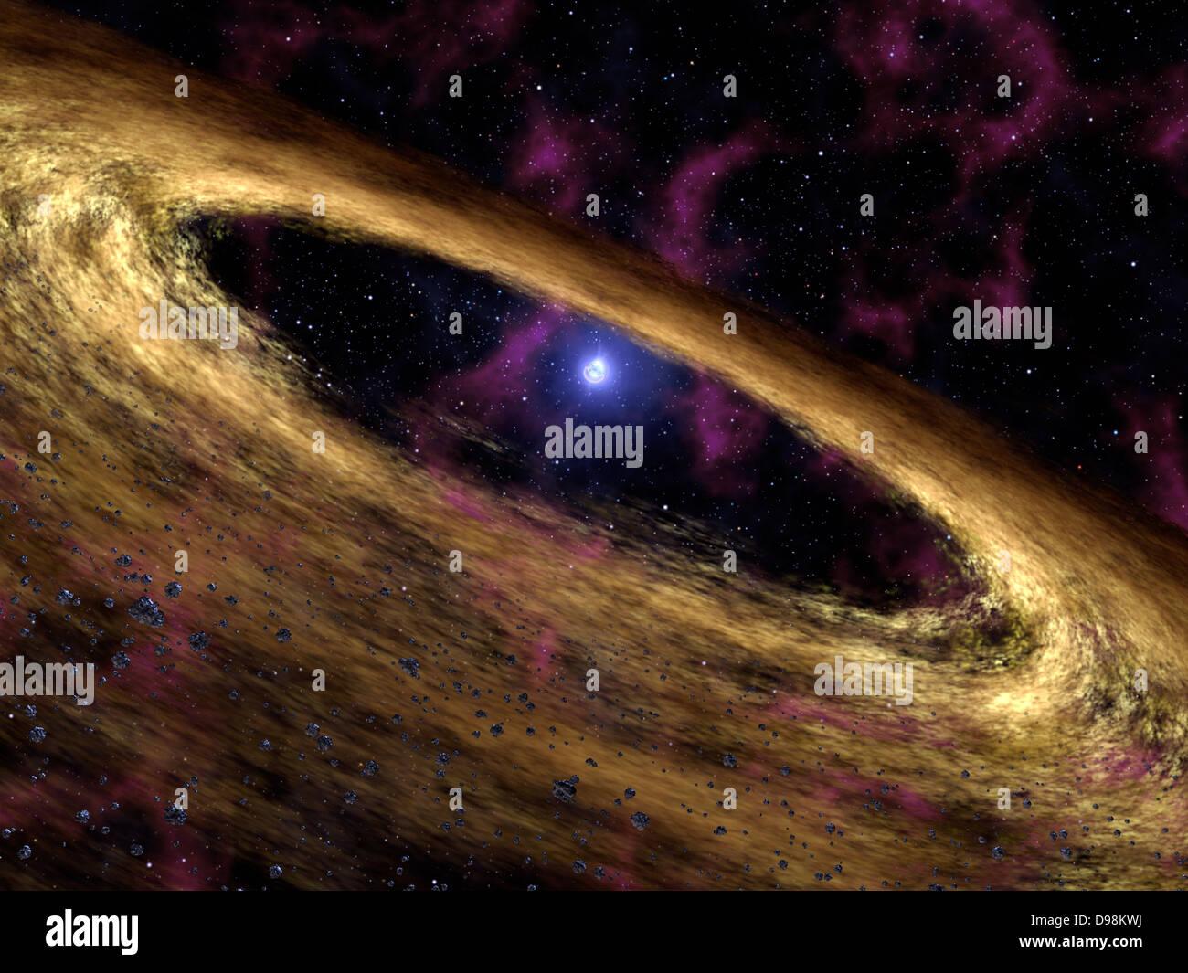 Questo artista del concetto rappresenta un tipo di stella morta chiamato una pulsar e il disco circostante di macerie Immagini Stock