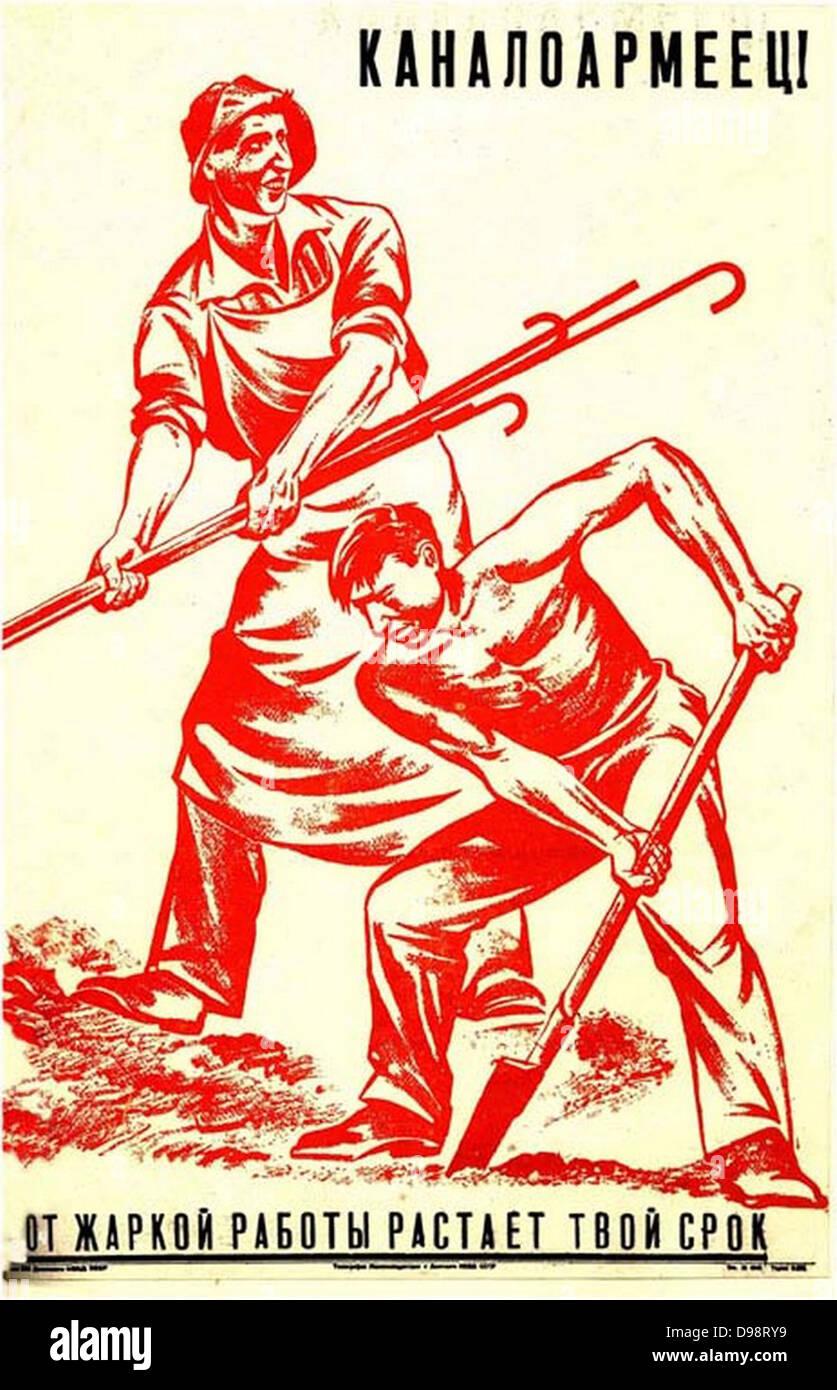 La costruzione del canal Bianco, un russo 1930 Poster Immagini Stock