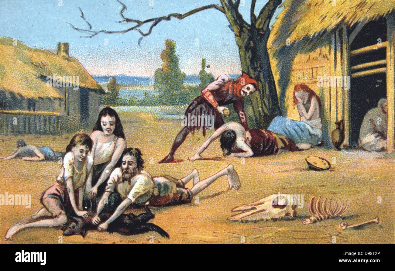 La carestia nel Medioevo. Xix secolo scheda commerciale Chromolithograph Immagini Stock