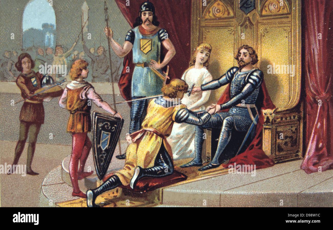 Cavalleria nel Medioevo. Un cavaliere in omaggio al suo signore. Cavalier guerra Europa militare del XIX secolo Immagini Stock