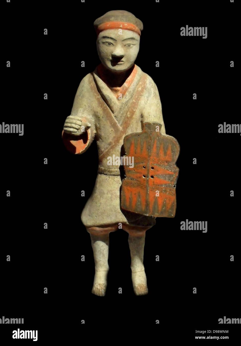 Protezione del guerriero. Est della dinastia Han (25-220 AD) Cina in terracotta (Nord), Provincia di Shaanxi Immagini Stock