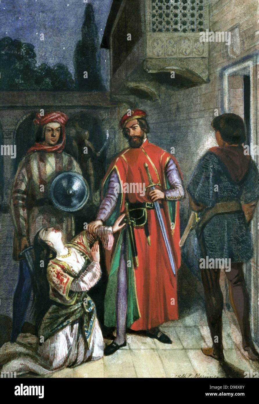 La Supplica'. Acquerello. Pittura storica da Propsper Merimee (1803-1870) Frenh drammaturgo, storico ed archeologo. Foto Stock