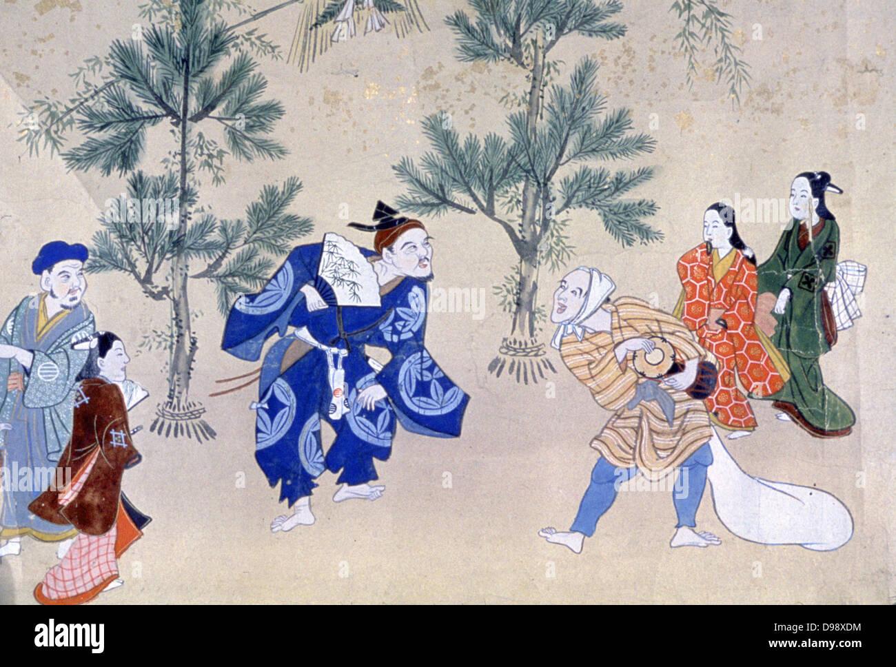 """Eventi nell'anno del mondo fluttuante"""", 1695-1700. Inchiostro, colori e oro. Hishikawa Moroshige (1684 Immagini Stock"""