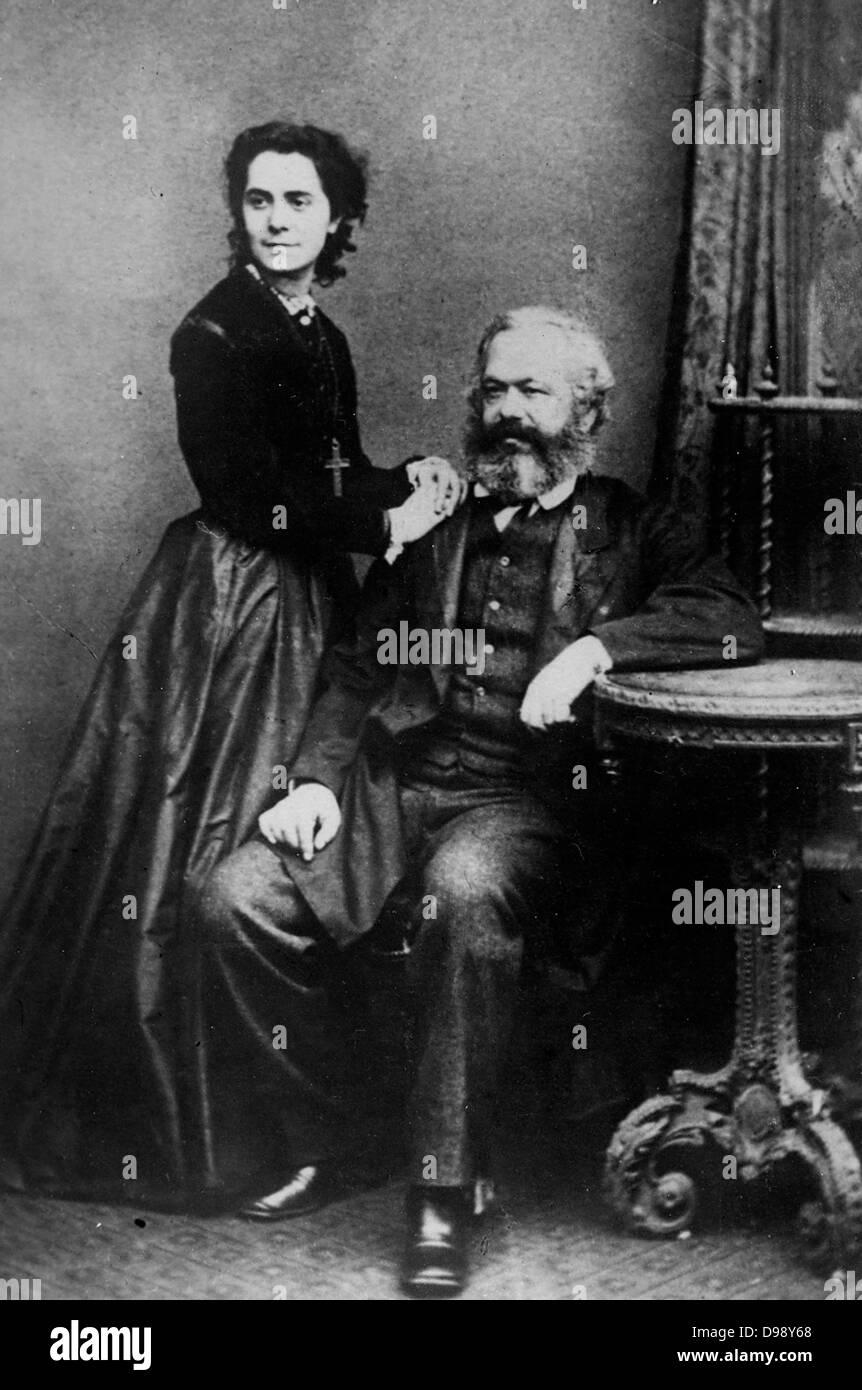 Karl Marx con sua figlia Jenny circa nel 1870 Foto Stock