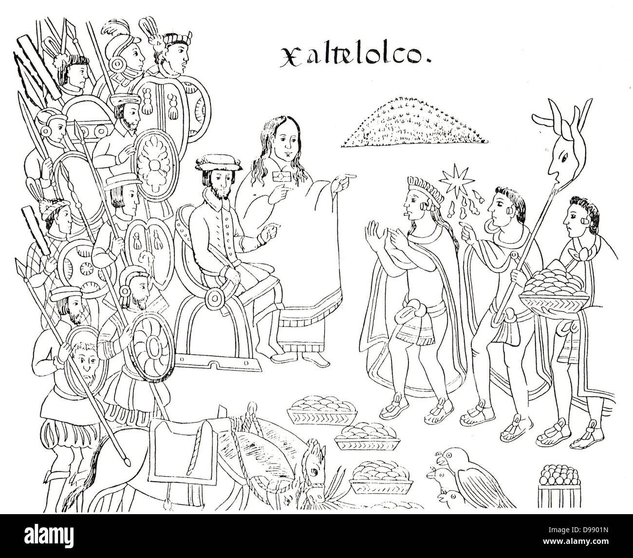 Da Diego Muñoz Camargo la Storia di Tlaxcala (Lienzo Tlaxcala), c. 1585, mostrando la Malinche e Hernán Immagini Stock