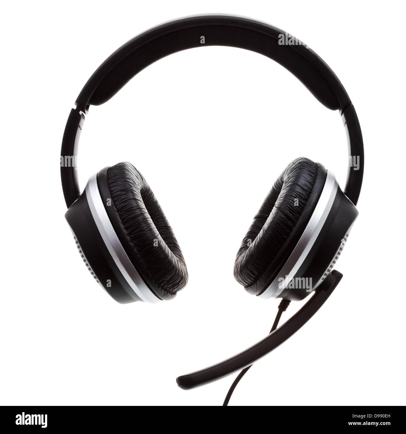 Nero set di cuffie isolato su sfondo bianco Foto   Immagine Stock ... f053d210c8e2