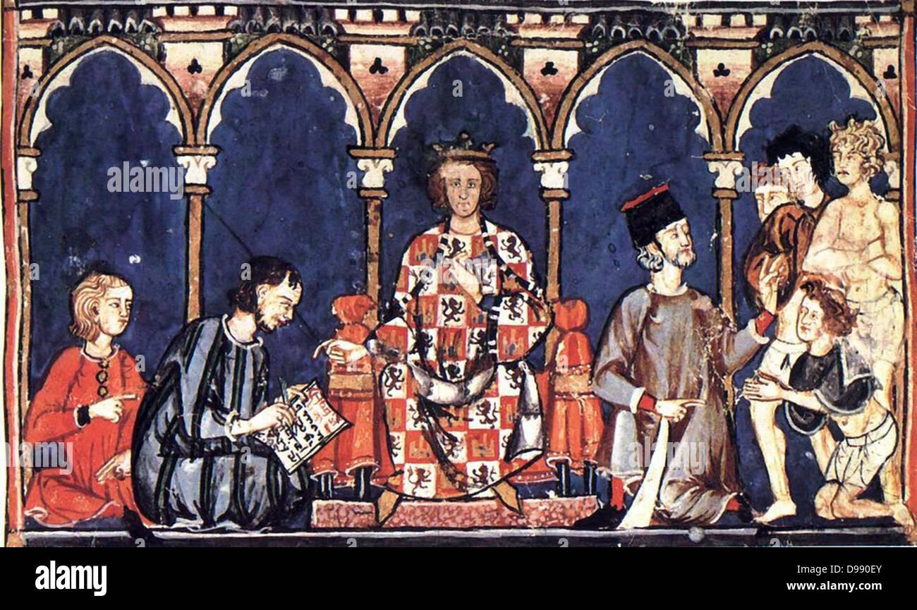 Il ruolo della nobiltà in Spagna:Alfonso X, Toledo (Spagna, 23 novembre 1221 - 4 Aprile 1284 a Siviglia, Spagna) Immagini Stock