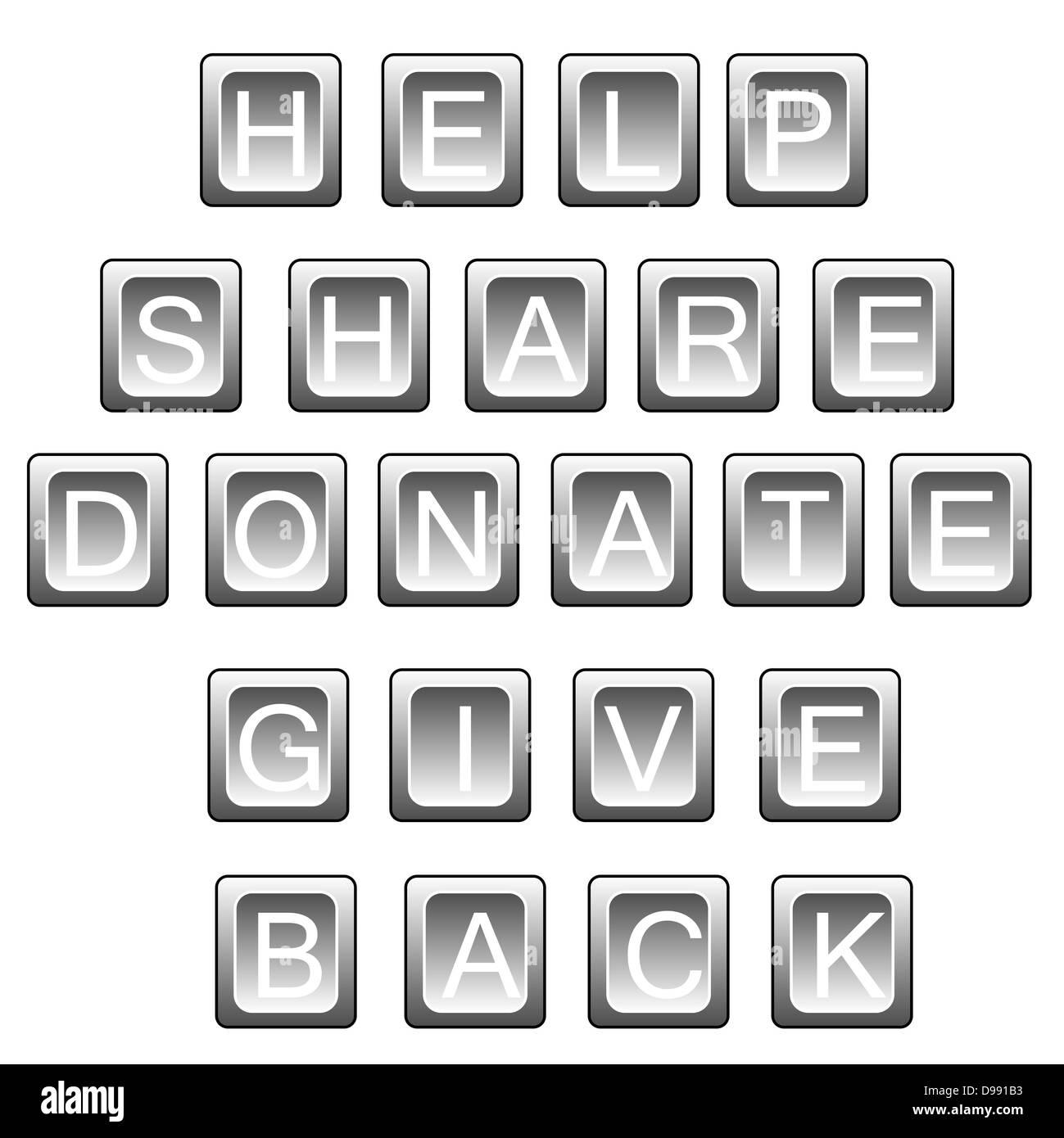 Termini correlati per aiutare (help, condividere donare, dare indietro) in lettere della tastiera, isolato su bianco. Immagini Stock