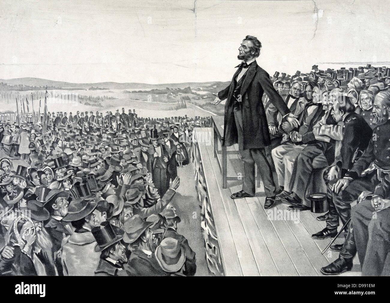 Abraham Lincoln facendo il suo famoso discorso il 19 novembre 1863 presso la dedizione dei soldati' cimitero Immagini Stock