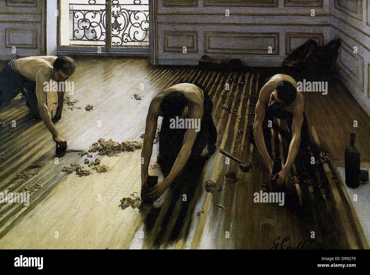 Les raboteurs' (il pavimento raschiatori) 1875. Olio su tela. Impressionismo Scuola realista operaio interno Immagini Stock