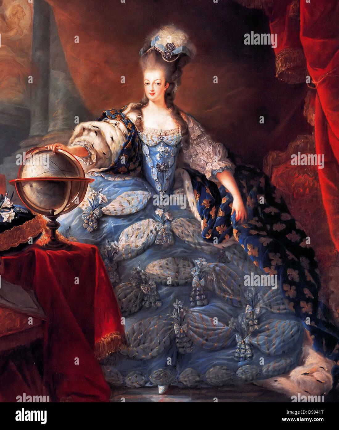 Maria Antonietta, Regina di Francia, nelle vesti di incoronazione da Jean-Baptiste Gautier Dagoty, 1775. Maria Antonietta Immagini Stock