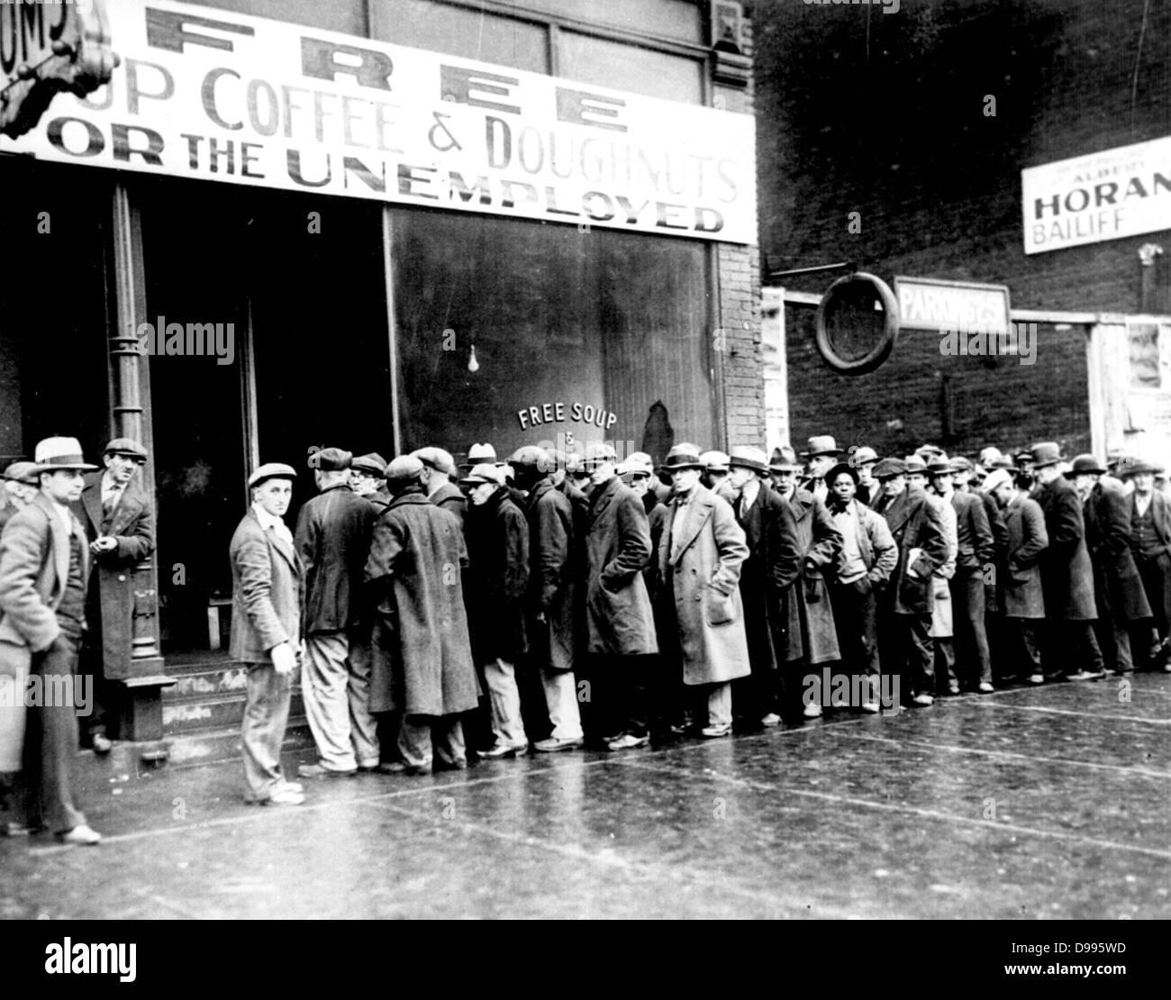 Mensa per i disoccupati in New York circa 1930 Immagini Stock
