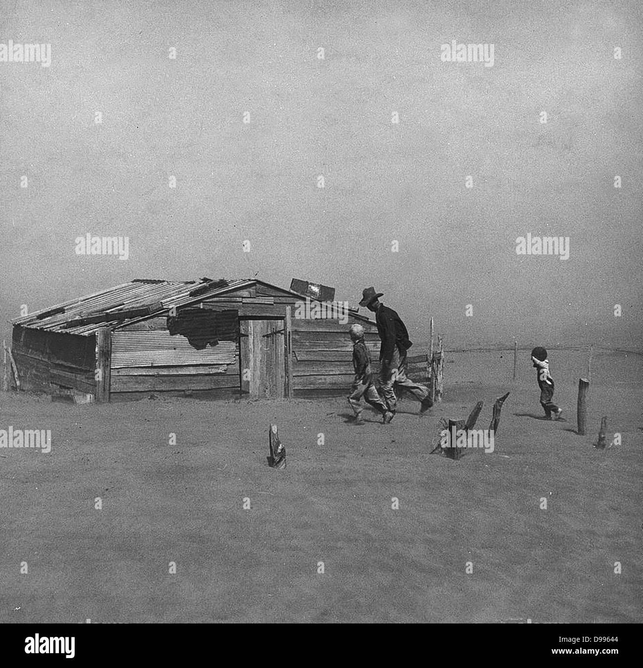 Vaschetta della polvere in America 1930 Raccolta Immagini Stock