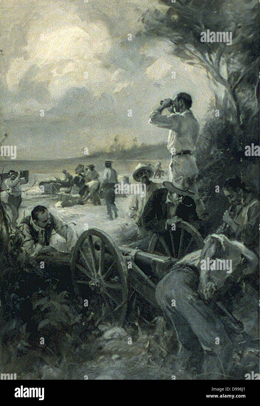 La scena durante lo spagnolo guerra americana 1898. Un quasi ideale pistola naturale-pit è stata trovata vicino Immagini Stock