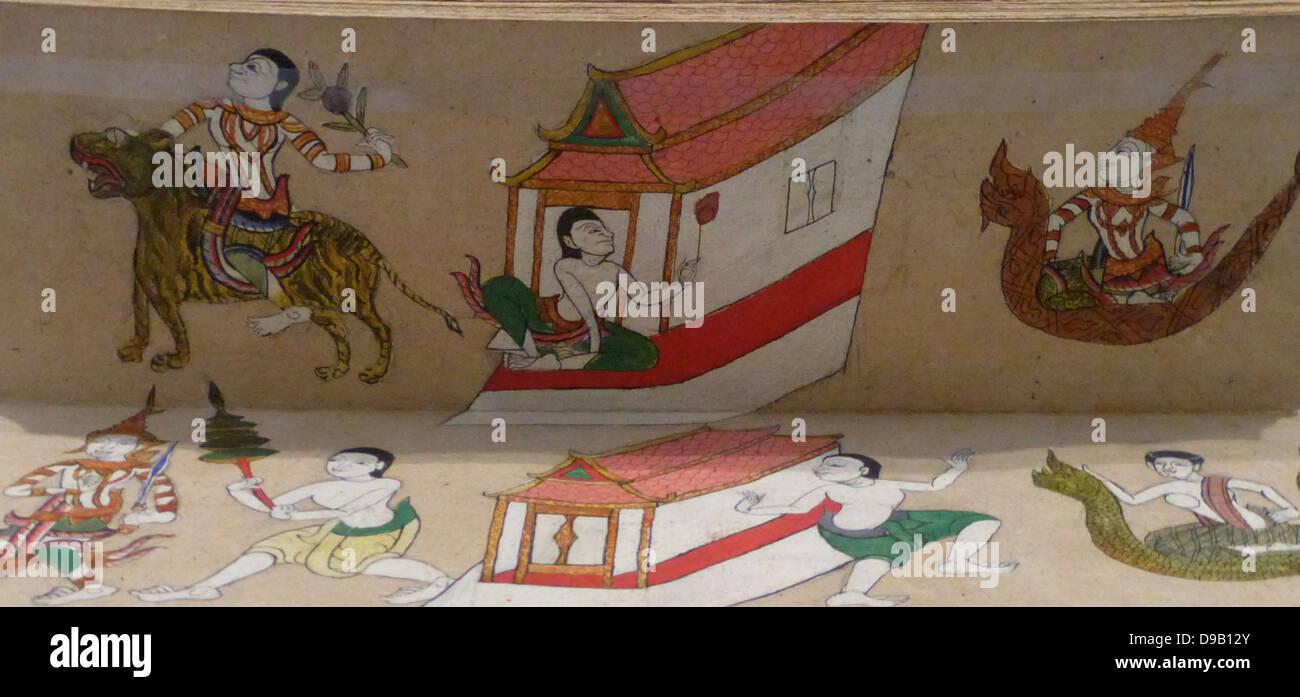 Fortune-Telling manuale - circa 1850. In passato quasi tutti nella società tailandese consultati indovini. Immagini Stock