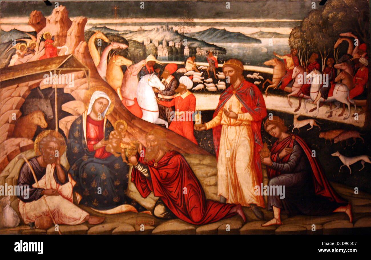 L Adorazione dei Magi. Prima metà del XVI secolo. Questa icona, che è fortemente influenzato dalla tecnica Immagini Stock
