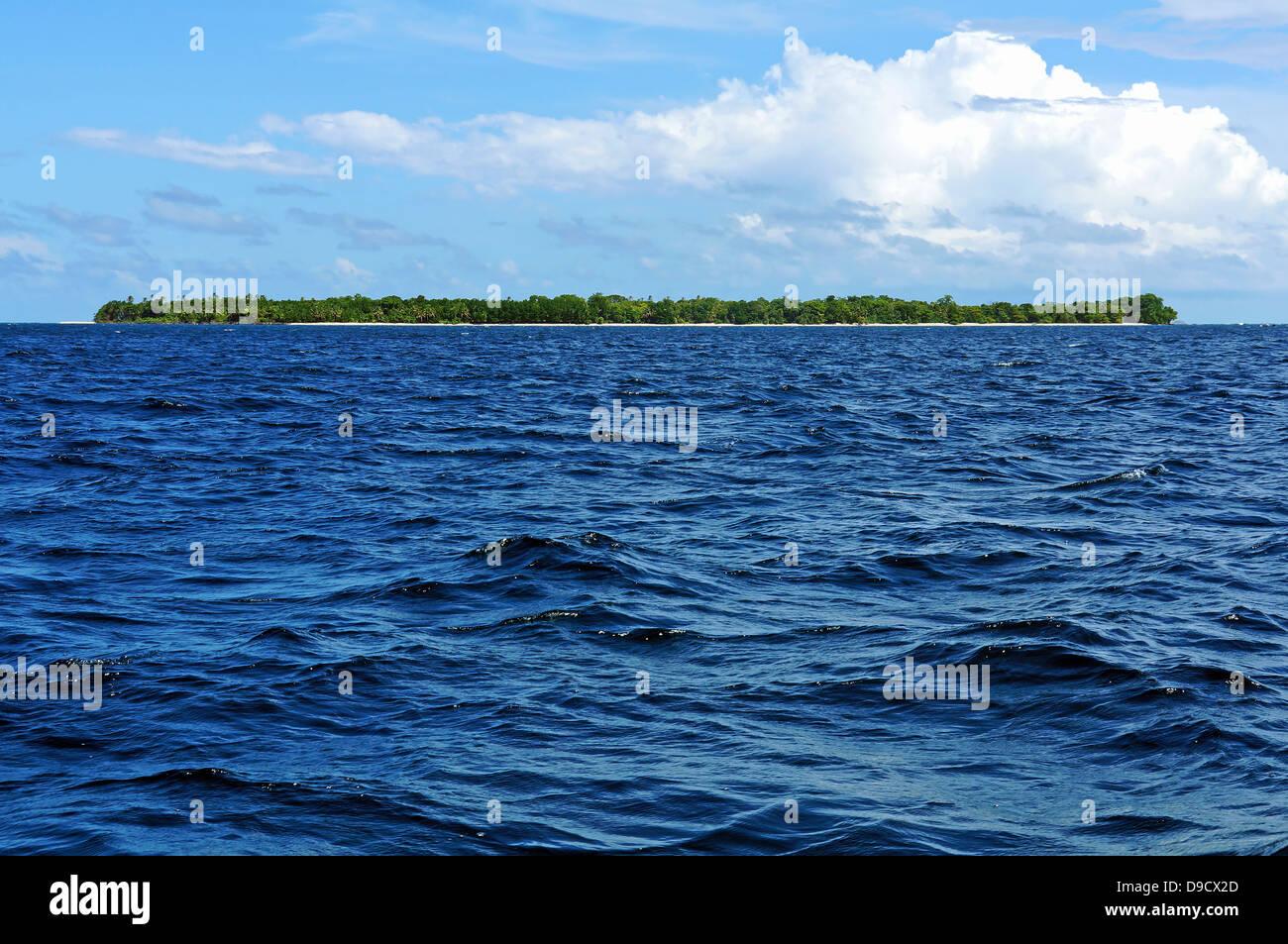 Incontaminata isola tropicale con vegetazione lussureggiante all'orizzonte, Bocas del Toro, Panama Immagini Stock