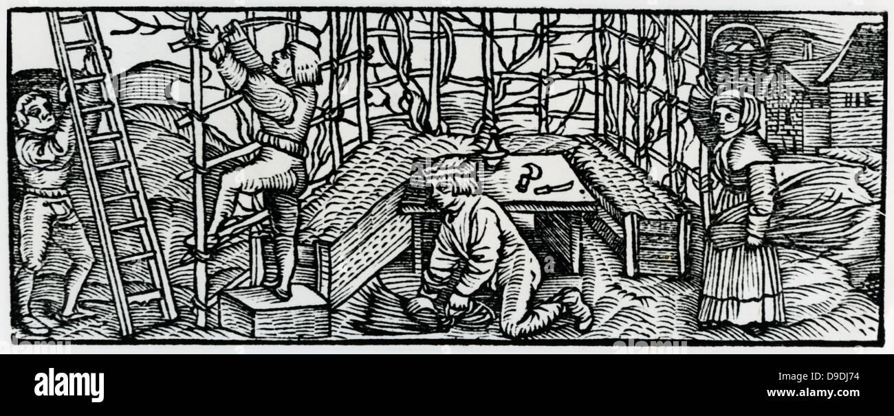 """Un cavaliere andando a caccia. Xilografia dal ''Calendarum Romanum Magnum"""", 1518. Immagini Stock"""
