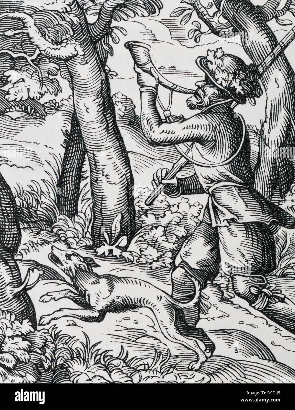 La Huntsman. Xvi secolo la xilografia da Jost Amman. Immagini Stock