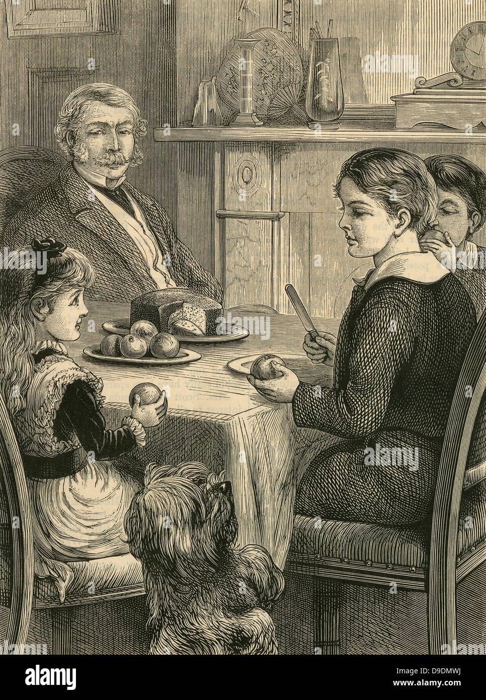 Famiglia tea time: cane a mendicare per un trattamento. Incisione, 1882 Immagini Stock