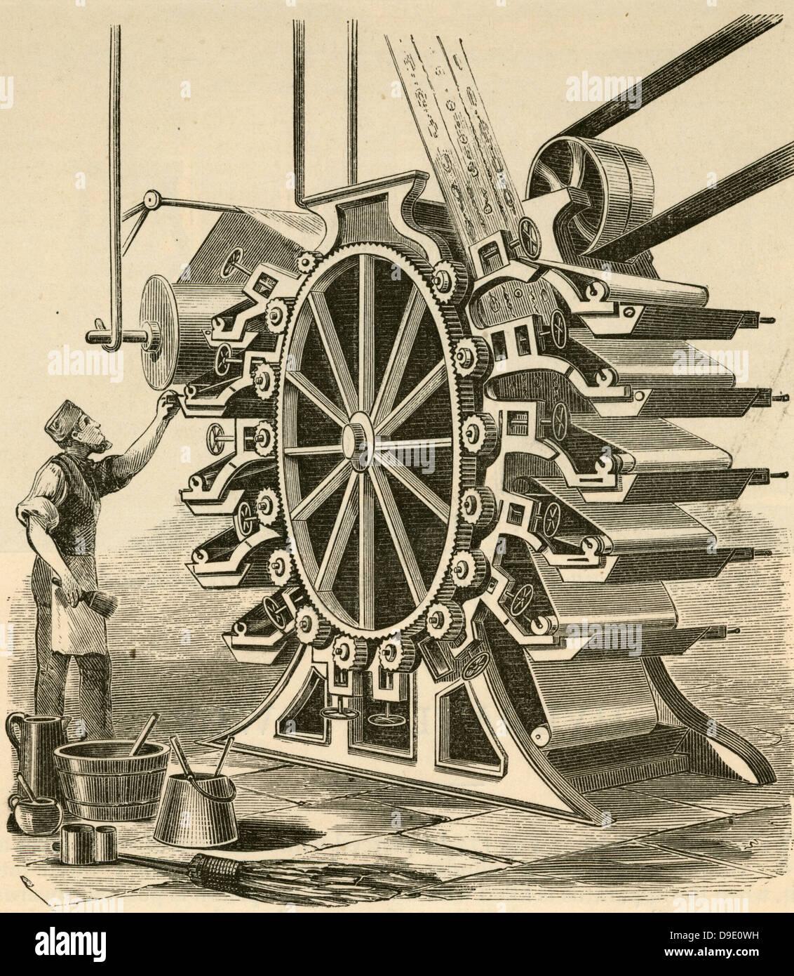 La stampa di carte da parati. Incisione 1876. Immagini Stock
