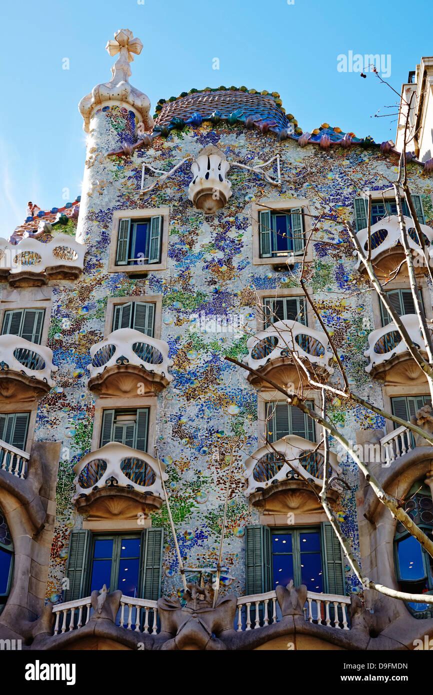 Casa Batllo, Sito Patrimonio Mondiale dell'UNESCO, Barcellona, in Catalogna, Spagna Immagini Stock