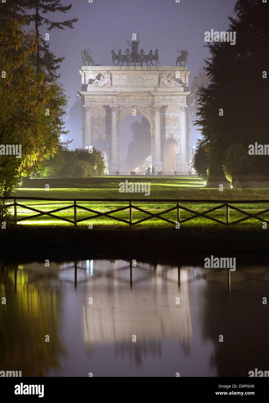 Arco della Pace, Milano, Lombardia, Italia Immagini Stock