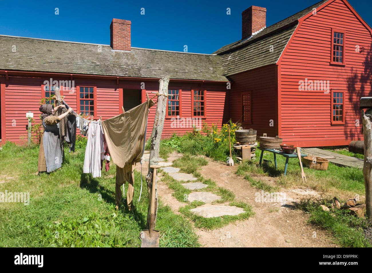 Ricreare i tempi passati al Old Sturbridge Village, un museo che ritrae la prima Nuova Inghilterra vita, Massachusetts, Immagini Stock