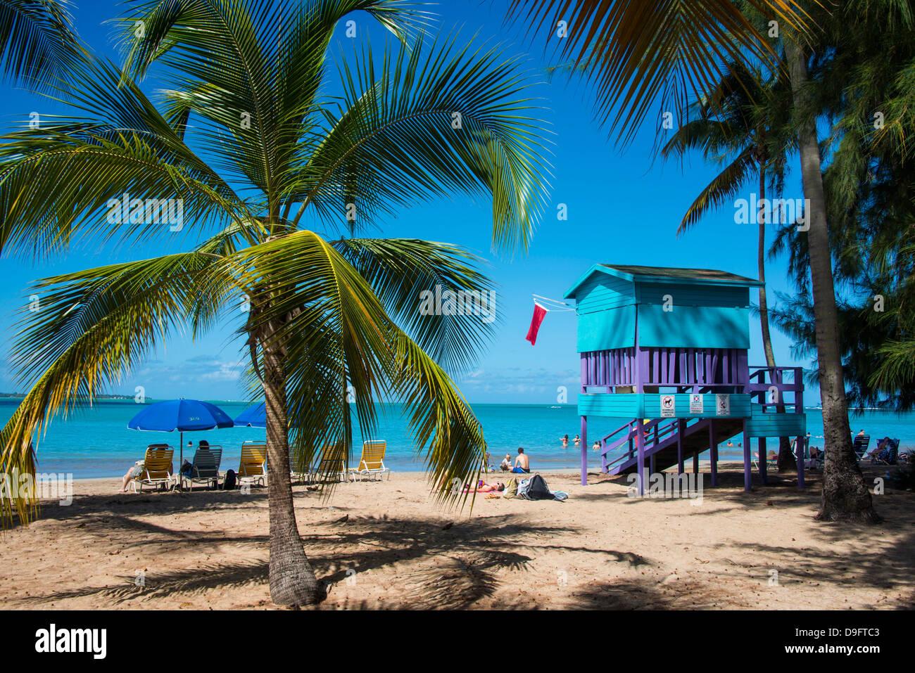 Luquillo Beach, Puerto Rico, West Indies, dei Caraibi Immagini Stock