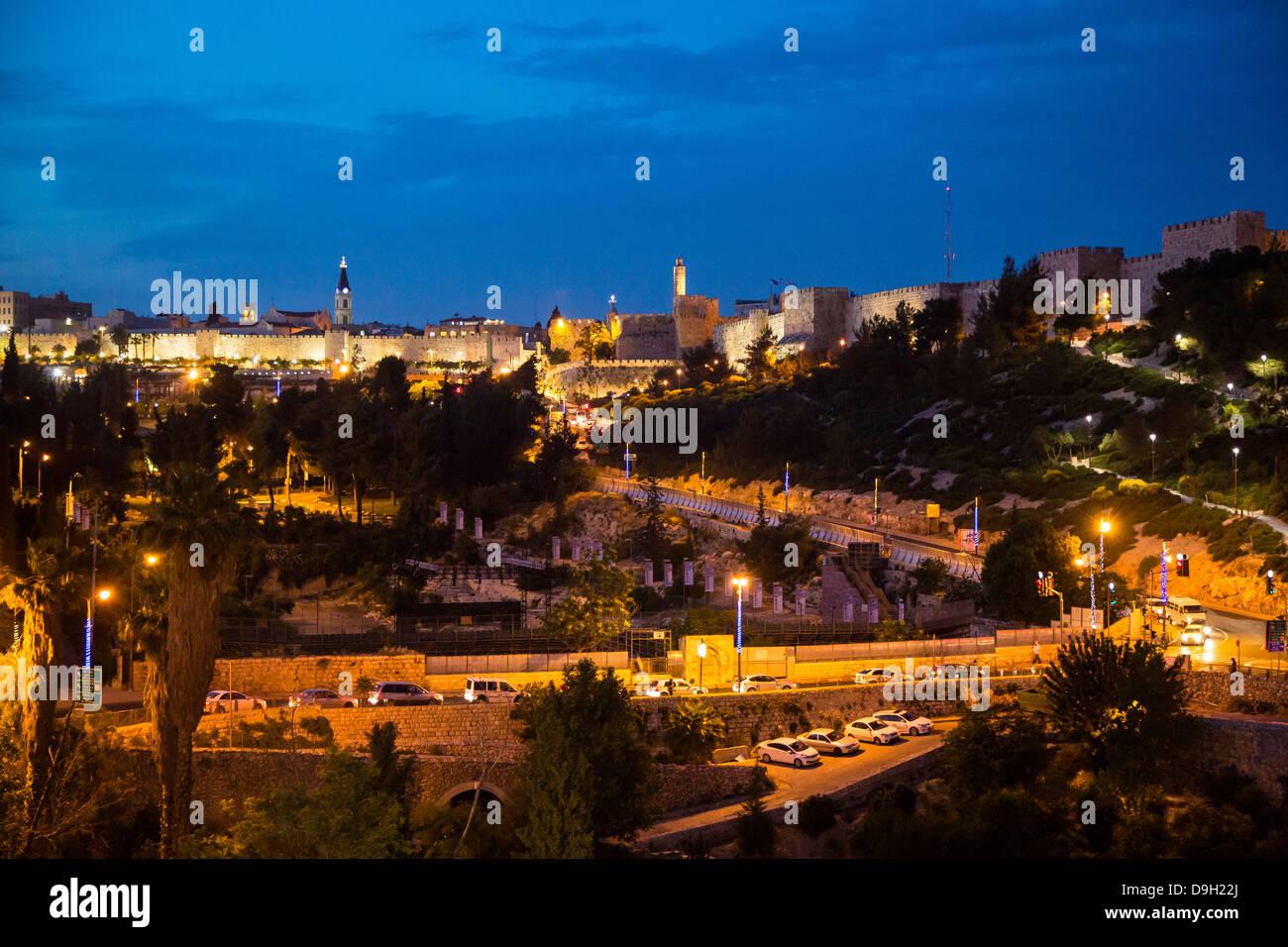 Le mura della città vecchia di Gerusalemme, Israele. Immagini Stock
