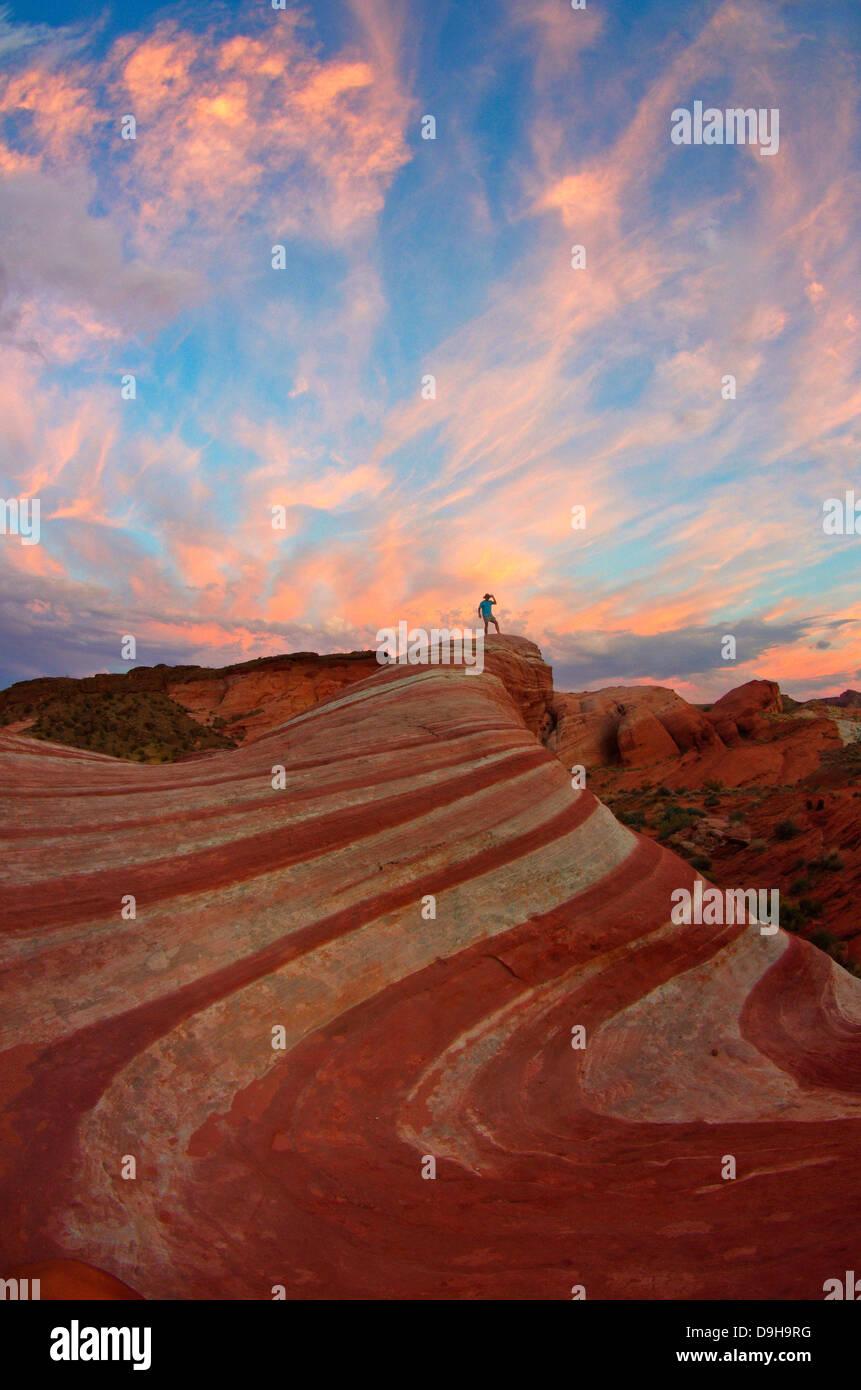 Onda di fuoco, la Valle del Fuoco Parco di Stato di Nevada Foto Stock